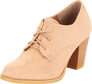 Cambridge Select Women's Almond Toe Lace-Up Chunky Stacked Block Mid Heel Oxford