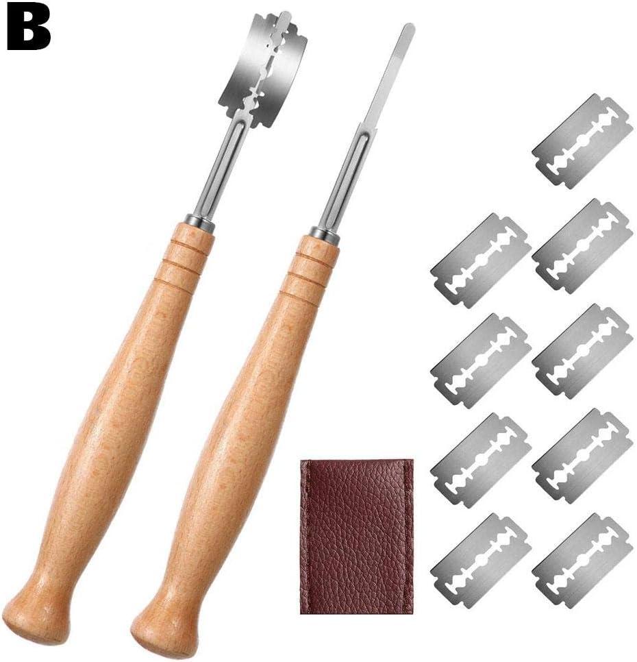Bäckermesser Teig, Baguettemesser mit Rasierklinge Bretzelmesser Ritzmesser Brot für Küche und Handwerklich Hergestelltes Brot B #