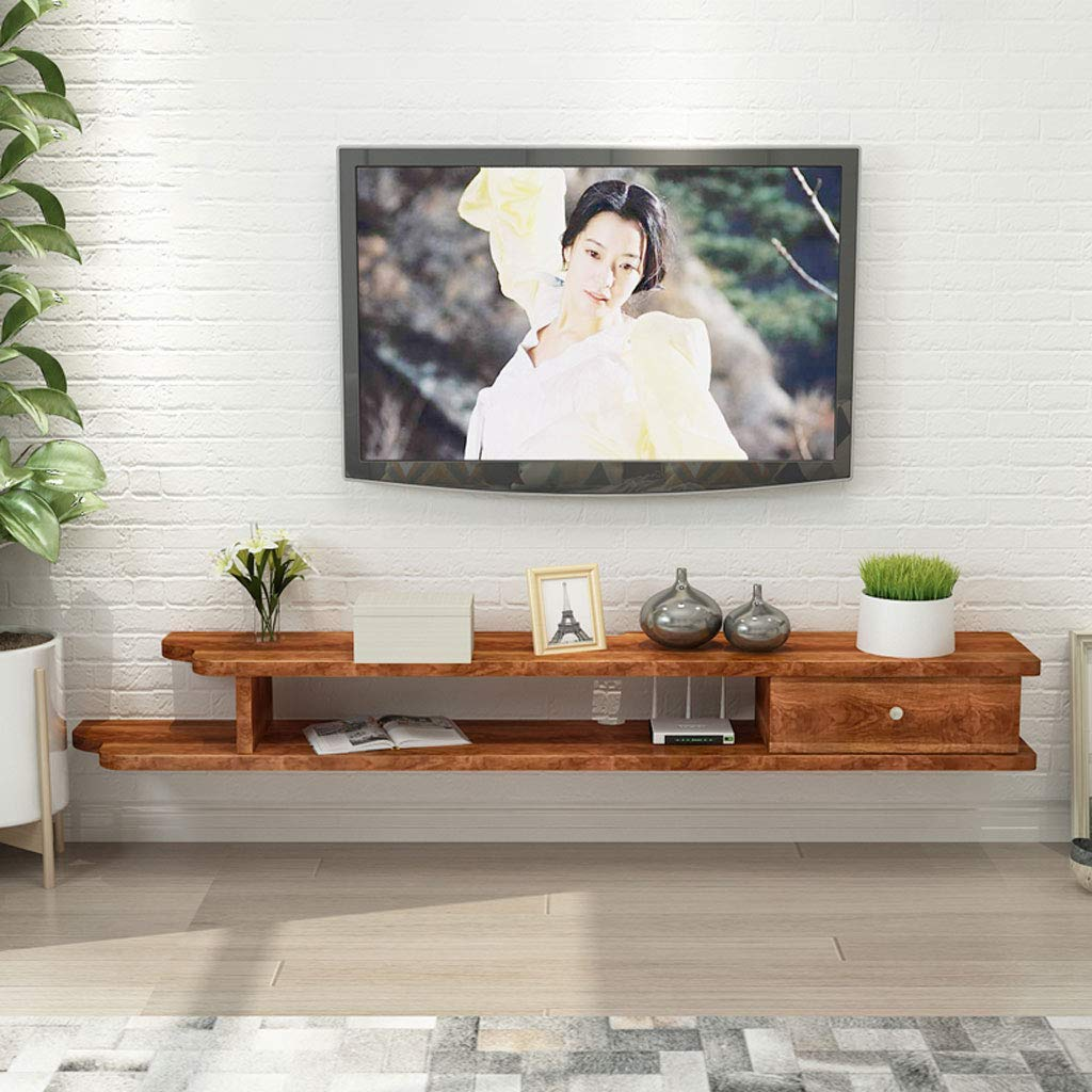 XINGPING-Shelf Estante de Pared TV montado en la Pared Gabinete Estante Set-Top Box Router DVD Rack TV Fondo Marco de Pared Consola de TV TV Repisa (Color : C, Size : 110cm):