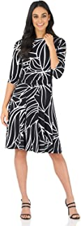 Rekucci Women's Flippy Fit N' Flare Dress with 3/4 Sleeves