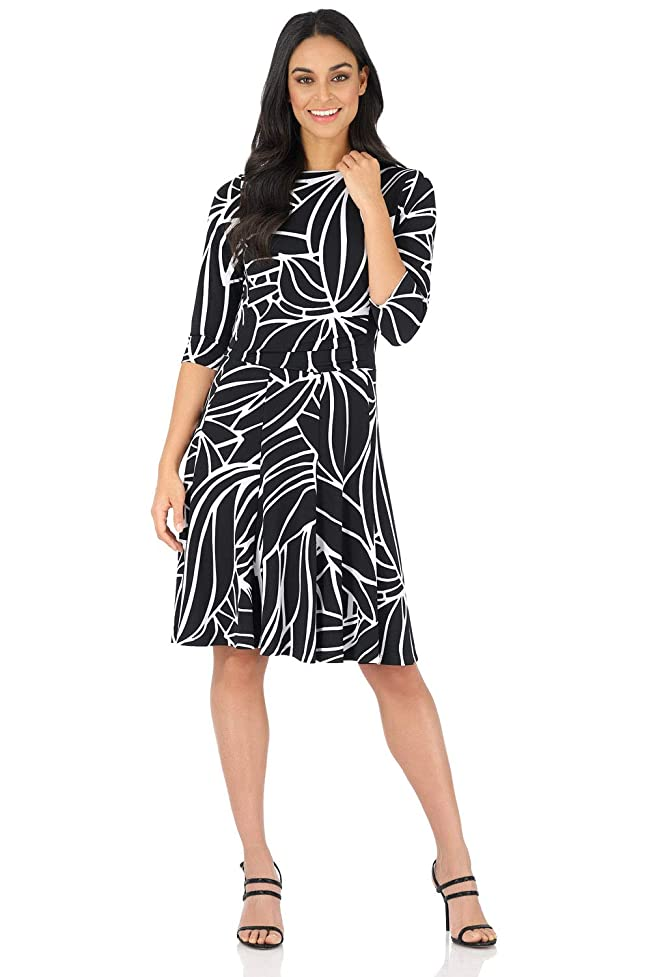Rekucci Women's Flippy Fit N' Flare Dress with 3/4 Sleeves rul654629454298