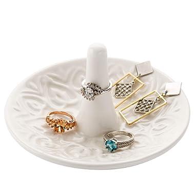 MyGift Decorative Raised Heart Design White Ceramic Ring Dish/Dresser Top Jewelry Holder/Trinket Tray