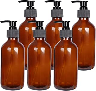 8 oz Amber Glass Boston Bottles with Pumps,Set of 6,Refillable Glass Pump Bottles for Essential Oils, Bath, Shampoo, Lotio...