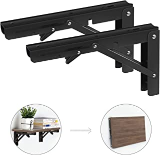 """8"""" Folding Shelf Brackets 2pc Heavy Duty Collapsible Supporter Stainless Steel Triangle Stands 90 Degree Angle Wall Mounted Supporter with Mounting Screws for DIY Table Work Space Saving Sturdy Frame"""