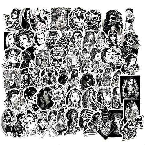 BLOUR 68 unids/Lote Pegatinas de Belleza de Tatuaje en Blanco y Negro Sexy Graffiti portátil Marilyn Monroe Pegatinas Decorativas Pegatinas de Coche y Motocicleta