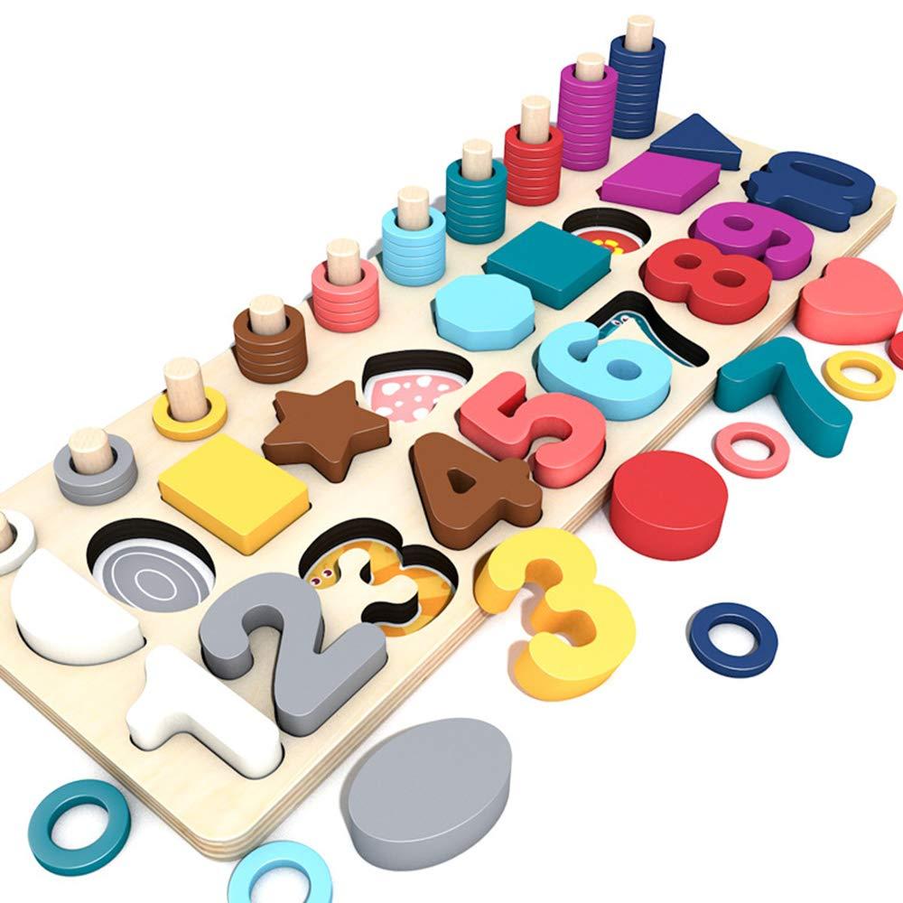 Bloques de construcción de forma digitales de los niños juguetes de inteligencia digital de juegos de desarrollo de 4-6 años de edad de tres-en-uno de mesa juguetes educativos de madera de niños: