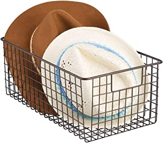 mDesign Pudełko na buty - praktyczny kosz druciany do przechowywania butów oszczędzających miejsce - utrzymuj torebkę, tor...