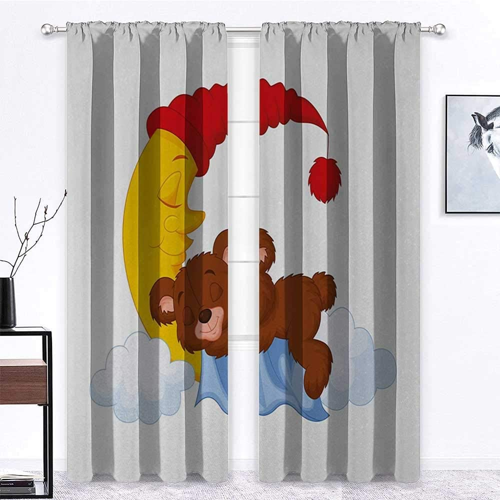 GugeABC Curtains Drapes Limited time sale 84 Max 49% OFF inch Bear Curtain Length Panels 72