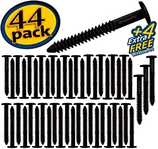 Window Shutters Panel Peg Lok Pin Screws Spikes 3 inch 48 Pack Fasteners (Black) Exterior Vinyl Shutter Hardware Strongest Made in USA