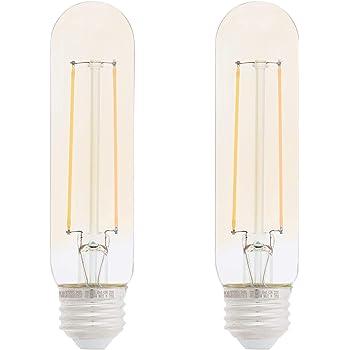 Amazon Basics 40 Watt Equivalent, Clear, Amber, Dimmable, T10 LED Light Bulb   2-Pack