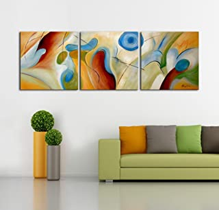 ARTLAND Modern 100% Hand Painted Abstract Oil Painting on Canvas Dream Whirlpool 3-Piece Framed Wall Art for Living Room Artwork for Wall Decor Home Decoration 24x72 inches