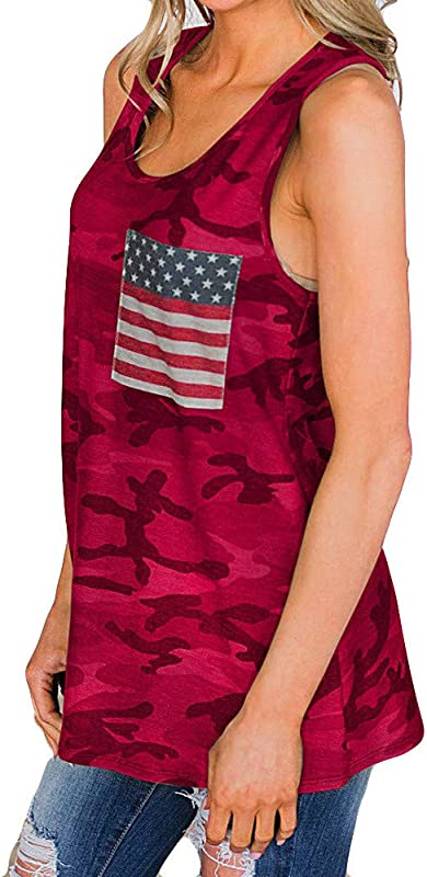 RoDeke Women S July 4Th American Flag Camouflage Tops Sleeveless Casual Round Neck With Pocket