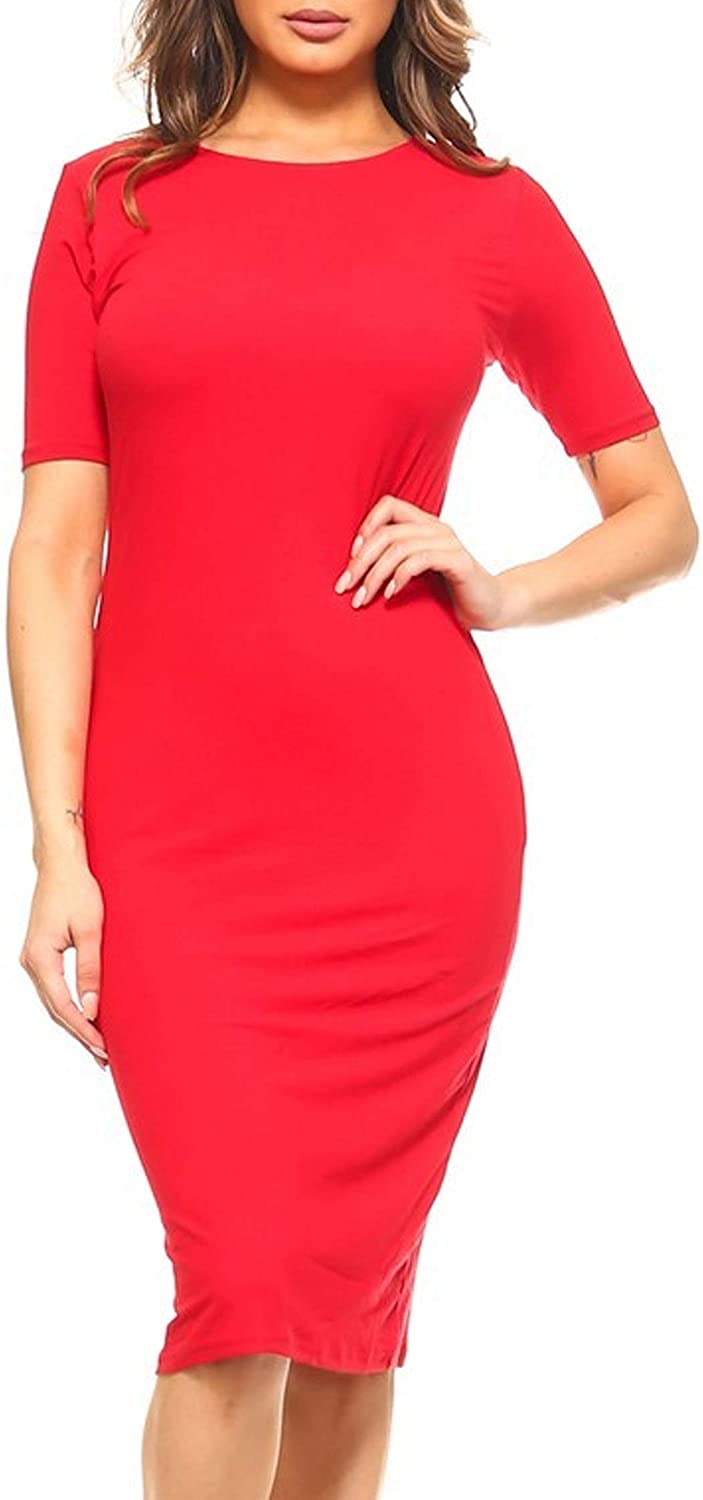 HEO CLOTHING Women's Solid Casual Comfy Short Sleeve Bodycon Slim Fit A-line Midi Dress