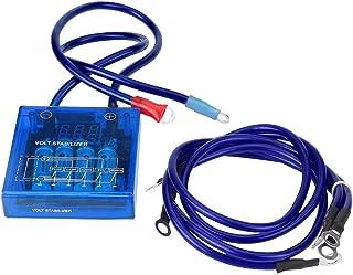 Digital Voltage Stabilizer Car 12V Universal Voltage Regulator Stabilizer Kit with 3 Earth Ground Cables for Car Truck(Blue)
