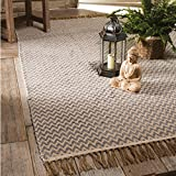 Indian Arts Fair Trade, tappeto in cotone con trama a zig zag, 100% cotone con bordo a frange (75 x 120 cm) Grigio