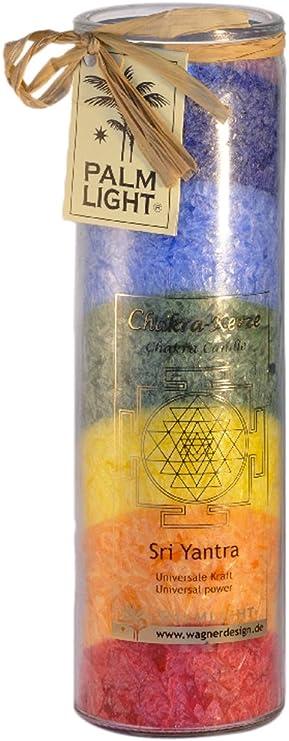 PALM LIGHT  Chakra Kerze  Sri Yantra  Multicolor  Windlicht