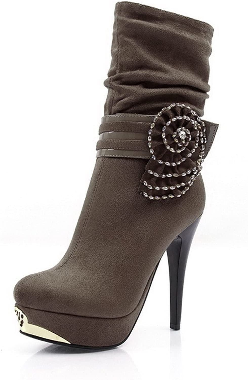 QueenFashion Women's Steel Toe Stiletto Ankle Boots with Bead and Flowers