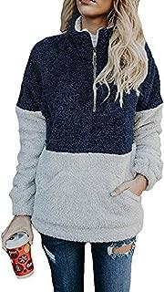 Womens Pullover Sweatshirt Color Block Quarter Zip Fleece Coat with Pocket