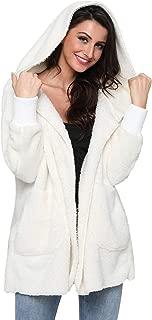 Mingnos Women Fuzzy Fleece Open Front Hooded Jacket Coat with Pockets