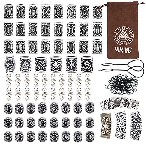 81Pcs Hair Tube Beads Norse Vikings Runes Hair Beard Beads for Bracelets Pendant Necklace DIY,Braiding Beads for Hair Braids Viking Beads Kits(Include 2Pcs Pull Hair Pin & Viking Suede Bag)