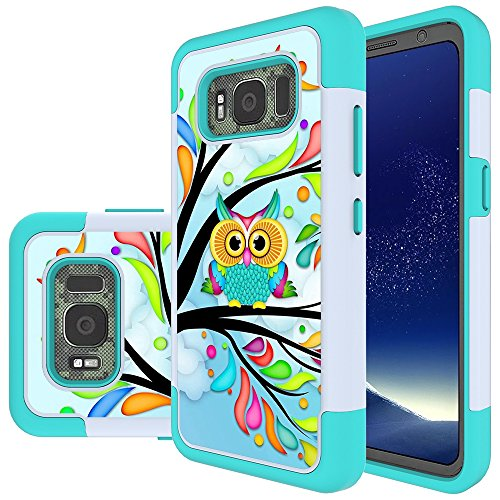 Galaxy S8 Active Case, MicroP Hybrid Dual Layer Silicone Plastic Armor Defender Phone Case Cover for Samsung Galaxy S8 Active (2017) (Armor Green Owl)