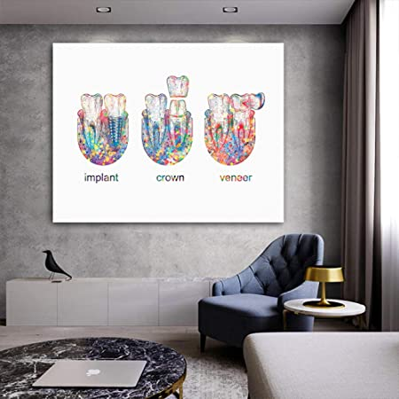 MLSWW Tableau d/écoratif sur Toile Dent Implant Imprimer Dentiste Cadeau Clinique Dentaire Mur D/écor Hygi/éniste Bureau Art M/édecine Toile Peinture Dent Aquarelle Affiche-40x60cm