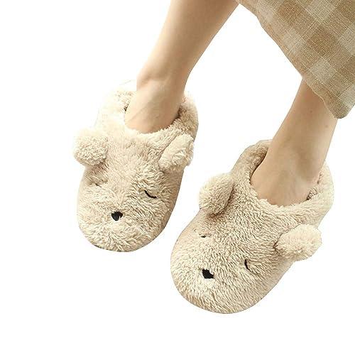 ef75e515edd Warm Cartoon Slippers for Women Indoor Fleece Plush Non Slip Dedroom Winter  Booties