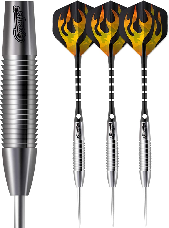 CyeeLife-Tungsten Steel tip Darts 21-28g 90%-18Flights-6Aluminum shafts-Dart case