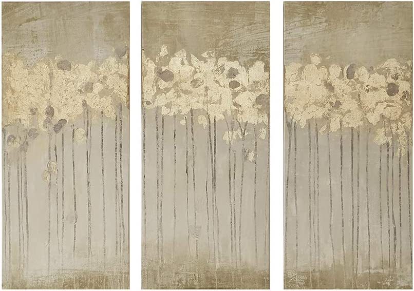Madison Park Sandy Forest Wall Art Canvas Hand Embellished Paint Home Decor Abstract Stretched 3 Piece Set Canvas Painting For Living Room Easy To Hang Deco Box Gold Amazon Co Uk Kitchen
