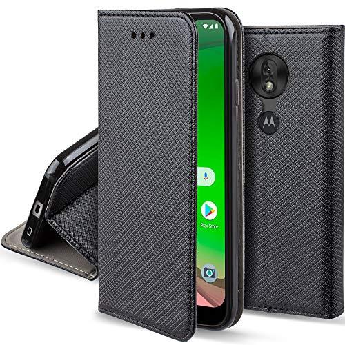 Moozy Funda para Motorola Moto G7 Play, Negra - Flip Cover Smart Magnética con Soporte y Cartera para Tarjetas
