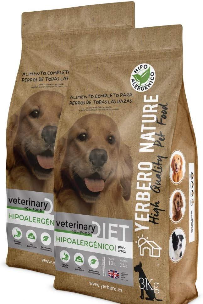 YERBERO Nature Hipoalergenico Diet Pavo y arroz, Comida Hipoalergénica para Perros 12kg