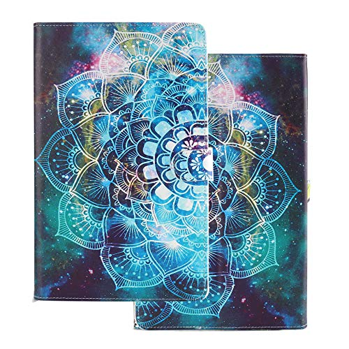 Tablet Case for Universal 10 Inch (9.5-10.5 inch) Flip Smart Cover Leather Wallet with Card Holder for Samsung Huawei Apple Tab 9.6 9.7 10.1 10.2 10.5 Color Mandala