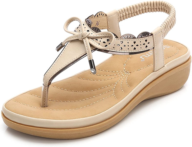 Baviue Womens Leather Comfort Thong Sandals Summer Sandles