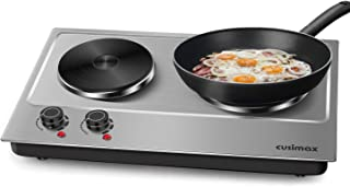 Cusimax 1800W Double Hot Plate, Stainless Steel Countertop Burner Portable Electric Double Burners Electric Cast Iron Hot Plates Cooktop, CMHP-C180