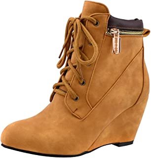 Opinionated Women's Fashion Casual Outdoor Low Wedge Heel Booties Shoes Lace up Close Toe Ankle Boots