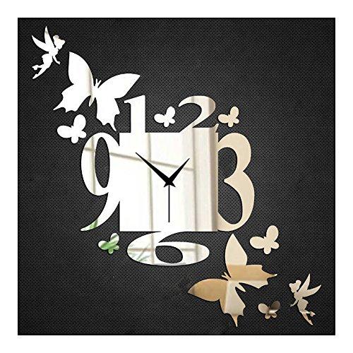 Reloj de pared pega hada y mariposa para decoración de la habitación color oro