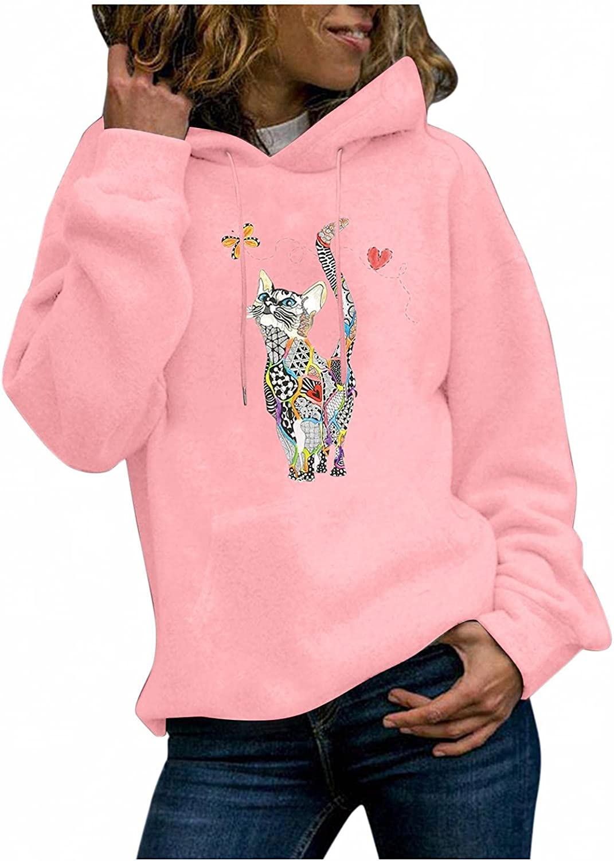 Masbird Hoodies for Women, Womens Long Sleeve Cat Printed Fall Hoodies Teen Girls Anime Cute Black Hoodies with Pocket