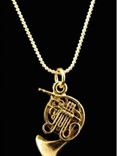 Harmony Jewelry Elegant French Horn Necklace, Gold