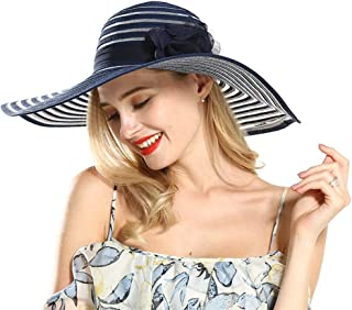 Fange Womens Sun Straw Hat Foldable Wide Brim Beach Cap UPF 50+