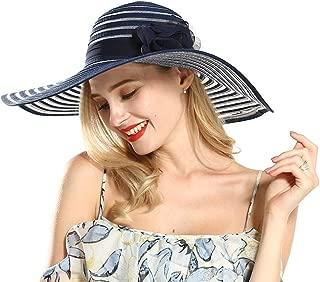 Fange Womens Sun Straw Hat Foldable Wide Brim Beach Cap UPF 50+