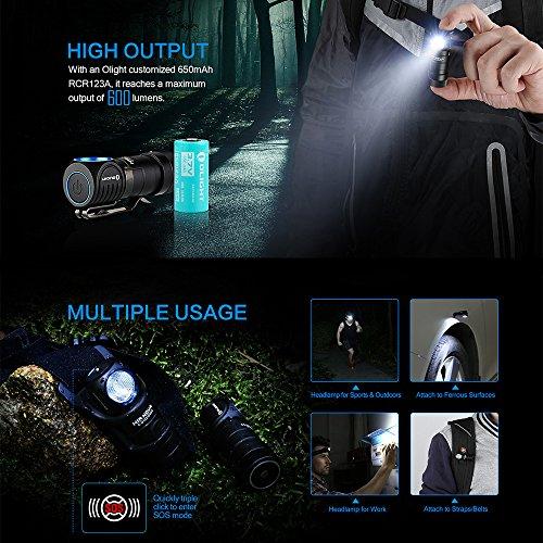 Olight® H1R Nova - Lampe Torche Frontale Rechargeable LED Cree XM-L2 600 Lumens, Lampe Amovible, Bandeau Elastique Réglable, 5 Modes d'Eclairage