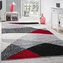 Alfombra Shaggy De Pelo Largo Suave con Diseño Geométrico En Diversos Colores, tamaño:200x280 cm, Color:Rojo