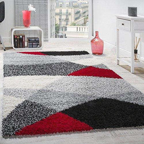 Alfombra Shaggy Pelo Alto Pelo Largo Estampada En Gris Negro Blanco Rojo, tamaño:160x220 cm