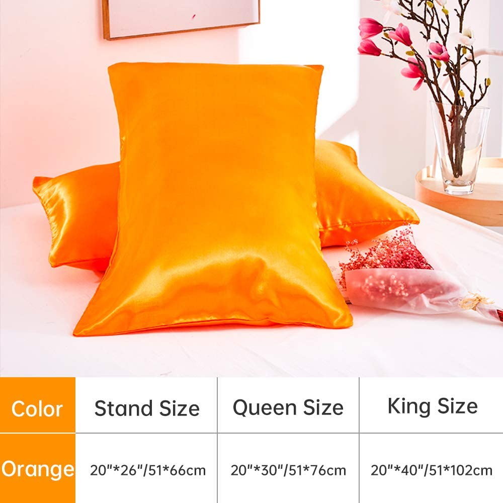 Orange Rofesi Satin Pillowcase for Hair and Skin Wrinkle Hypoallergenic Envelope Closure Pillow Cover 2-Pack Standard Size 20x26 inches Soft and Cozy Pillow Cases