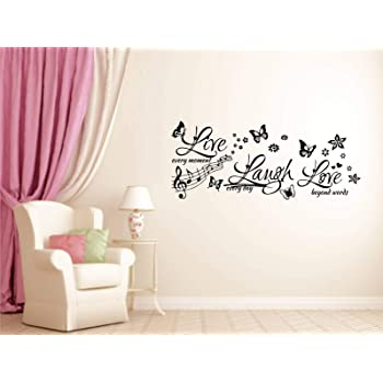 Buy Rawpockets Wall Decals Live Every Moment Laugh Every Day Love Beyond Words Wall Stickers Pvc Vinyl 20cm X 60cm Multicolour Online At Low Prices In India Amazon In