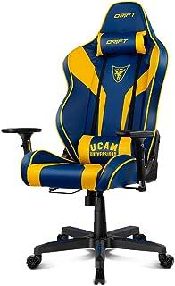 Drift DR111UCAM Silla Gaming, Polipiel, Azul/Amarillo, Profesional, Respaldo reclinable, Altura Regulable, Reposabrazos Ajustables