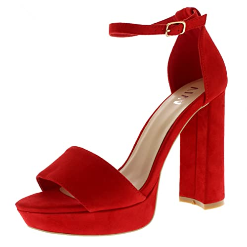 387fefb7a56 Viva Womens Block Heel Fashion Open Toe Barely There Ankle Strap High Heels