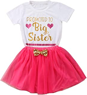 72d187b0e6ad Gaono 2019 Baby Girl Clothes Outfit Big Sister Letter Print T-Shirt Top  Blouse Shirts