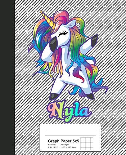 Graph Paper 5x5: NYLA Unicorn Rainbow Notebook (Weezag Graph Paper 5x5 Notebook, Band 1070)