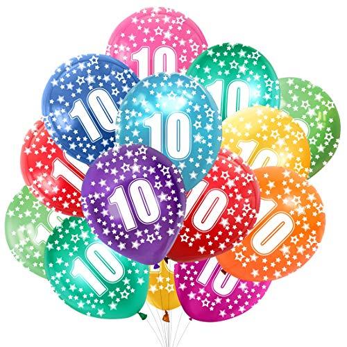 Globo Número 10, Cumpleaños Globos 10 Años, 10 Cumpleaños Decoración Globos Niño,Colores Globos Numeros 10 Fiesta Decoración para Feliz Cumpleaños,30 cm-Paquete de 30